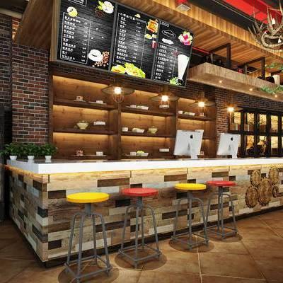 现代咖啡厅, 前台, 吧台, 吧椅, 置物柜, 吊灯, 现代