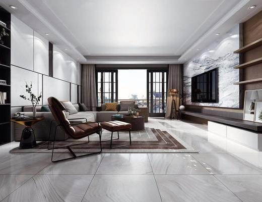 客厅, 沙发茶几组合, 电视, 现代, 下得乐3888套模型合辑