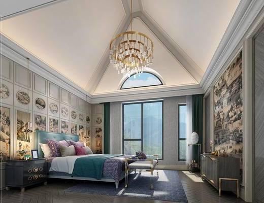 简欧卧室, 双人床, 床尾塌, 壁画, 床头柜, 吊灯, 简欧