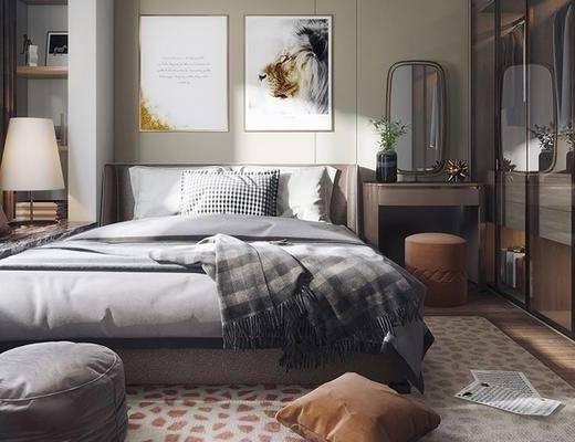 双人床, 壁画, 梳妆台, 衣柜, 置物架, 台灯, 沙发凳, 现代