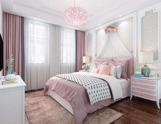 欧式简约, 粉色, 卧室, 床具组合, 吊灯, 床头柜