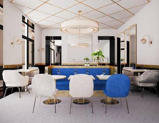 后现代咖啡厅, 咖啡厅, 桌椅组合, 吊灯, 壁灯, 吧台, 盆栽, 镜子, 餐具