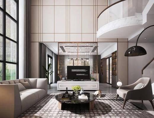 现代简约, 客厅, 沙发茶几组合, 陈设品组合, 别墅