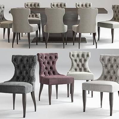 美式, 餐桌, 皮质, 椅子