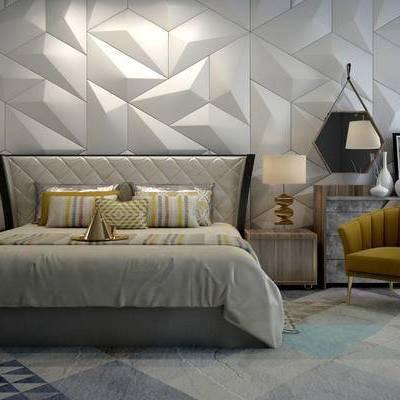 床具组合, 双人床, 床头柜, 台灯, 现代