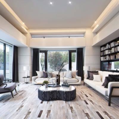 现代客厅, 沙发茶几组合, 储物架, 台灯, 摆件组合, 多人沙发, 现代