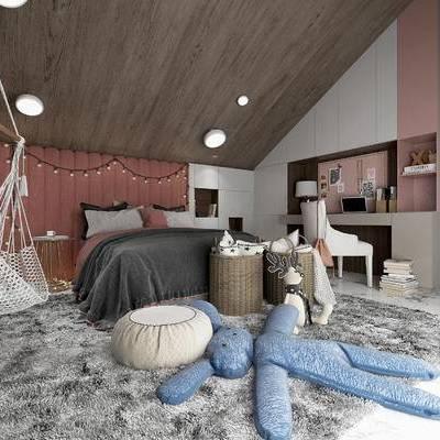 卧室, 双人床, 置物柜, 椅子, 玩具, 沙发凳, 边几, 现代