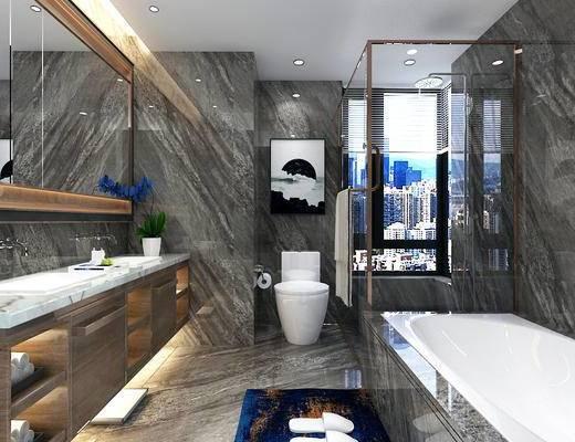 现代简约, 浴室, 卫生间, 浴缸, 洗手台