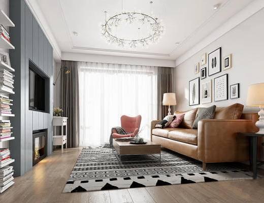 北欧简约, 客厅, 沙发茶几组合, 吊灯, 装饰画