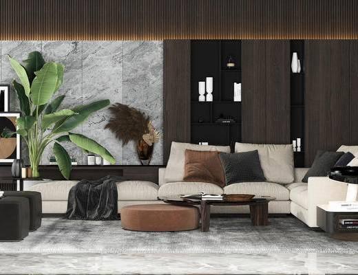 沙发组合, 多人沙发, 茶几, 置物柜, 现代