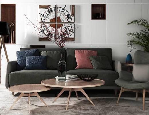 多人沙发, 茶几, 壁画, 落地灯, 椅子, 北欧