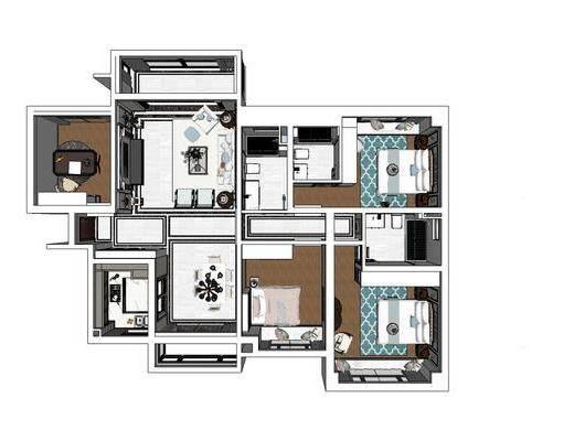 美式家装, 美式卧室, 美式客厅, 客厅餐厅