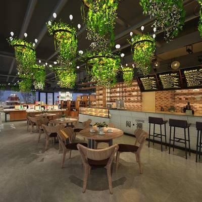 现代咖啡厅, 吧台, 吧椅, 桌子, 椅子, 吊灯, 现代