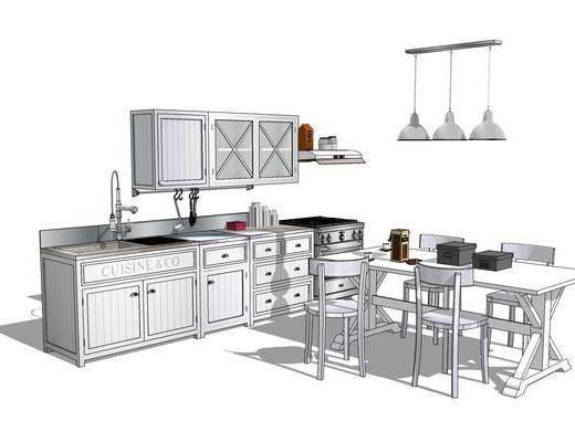 橱柜, 厨柜, 厨房, 桌椅组合, 吊灯, 餐桌, 椅子, 现代