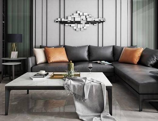 现代, 客厅, 沙发, 茶几, 墙饰, 台灯, 边几, 1000套空间酷赠送模型
