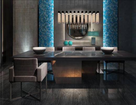 现代简约, 桌椅组合, 吊灯, 现代