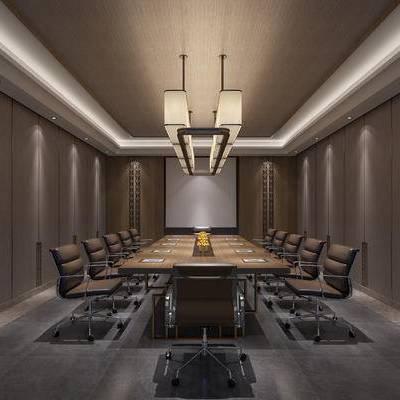 现代会议室, 会议桌, 椅子, 吊灯, 现代