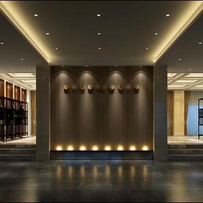 走廊过道, 置物柜, 椅子, 桌子, 盆栽, 新中式
