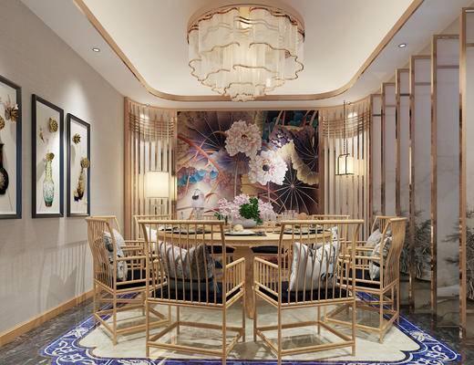 新中式, 餐厅, 包间, 包厢, 餐桌, 椅子, 吊灯, 挂画, 装饰画, 1000套空间酷赠送模型