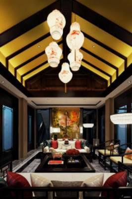 中式客厅, 中式吊灯, 中式桌椅组合, 壁画, 落地灯, 摆件组合, 中式