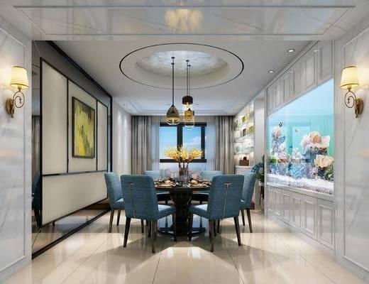 欧式餐厅, 吊灯, 桌子, 椅子, 壁灯, 壁画, 置物柜, 欧式