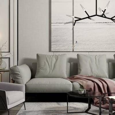 沙发组合, 壁画, 椅子, 边几, 壁灯, 茶几, 花瓶, 现代