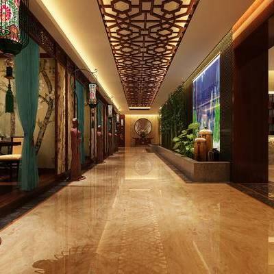 走廊过道, 落地灯, 酒柜, 椅子, 花瓶, 中式