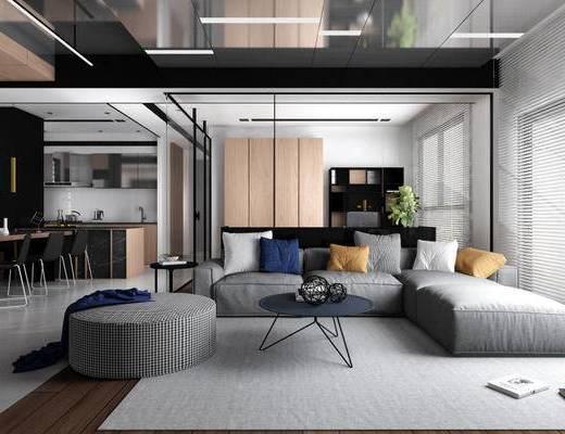 现代, 客厅, 餐厅, 厨房, 卧室, 沙发, 餐桌, 茶几, 衣柜