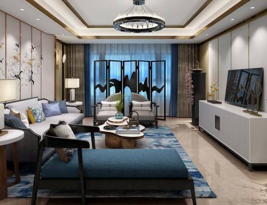 新中式客厅, 新中式沙发茶几组合, 吊灯, 壁画, 屏风, 台灯, 花瓶, 地毯, 壁灯, 新中式