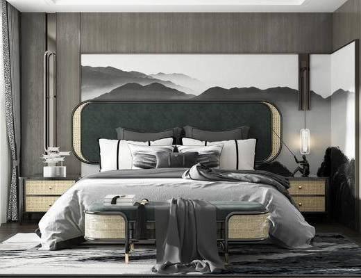 双人床, 床具组合, 背景墙, 床头柜