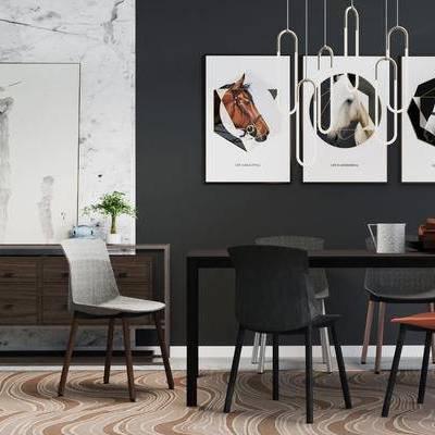 桌椅组合, 桌子, 椅子, 壁画, 边柜, 现代
