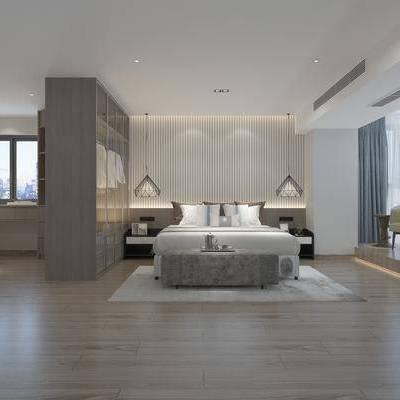 现代卧室, 双人床, 吊灯, 床头柜, 桌椅组合, 台灯, 单人沙发椅, 现代
