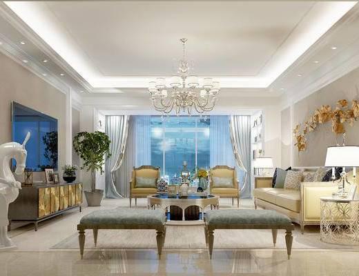 欧式客厅, 多人沙发, 茶几, 椅子, 吊灯, 电视柜, 边几, 台灯, 壁画, 欧式