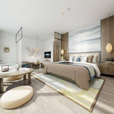 中式客房, 双人床, 床头柜, 吊灯, 桌子, 椅子, 壁画, 中式