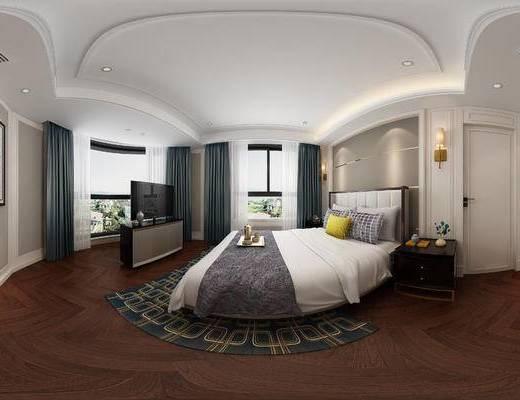 后現代臥室, 雙人床, 床頭柜, 電視柜, 壁畫, 壁燈, 后現代
