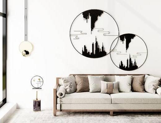 摆件组合, 双人沙发, 壁画, 吊灯, 圆几, 台灯, 新中式