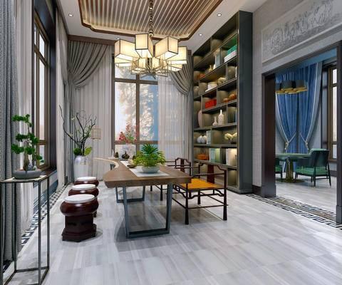 新中式茶室, 吊灯, 桌子, 椅子, 凳子, 置物柜, 边几, 盆栽, 花瓶, 新中式