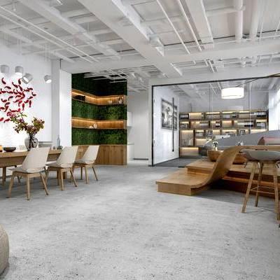 现代高层办公室, 办公桌椅组合, 吊灯, 壁画, 储物柜, 落地灯, 多人沙发, 单椅, 沙发塌, 现代