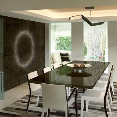 现代餐厅, 吊灯, 桌子, 椅子, 多人沙发, 地毯, 现代