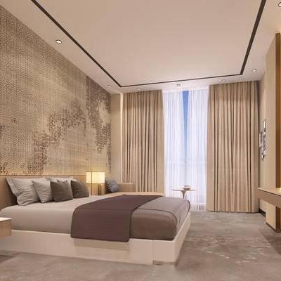 酒店客房, 双人床, 壁画, 床头柜, 台灯, 椅子, 现代