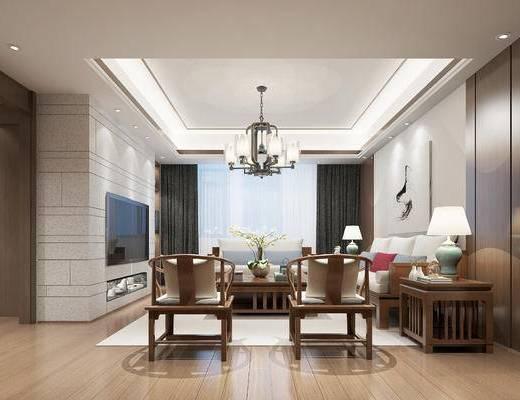 新中式客厅, 壁画, 吊灯, 多人沙发, 茶几, 边几, 台灯, 电视柜, 椅子, 新中式