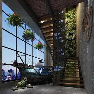 楼梯, 壁画, 盆栽, 地中海