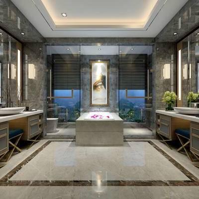 卫生间, 壁画, 洗手台, 壁灯, 浴缸, 马桶, 淋浴间, 椅子, 欧式