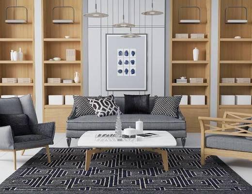 现代沙发茶几组合, 壁画, 吊灯, 储物柜, 现代