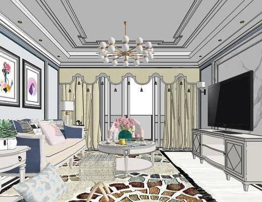 现代客餐厅, 壁画, 多人沙发, 边几, 台灯, 桌子, 椅子, 茶几, 吊灯, 电视柜, 壁灯, 现代