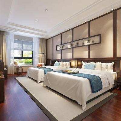 新中式客房, 双人床, 床头柜, 台灯, 电视柜, 壁画, 地毯, 新中式
