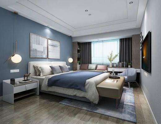北欧简约, 卧室, 吊灯, 脚踏, 桌椅组合, 床具组合