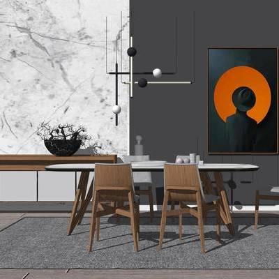 新中式, 餐桌, 椅子, 桌椅组合, 吊灯, 挂画, 边柜, 摆件