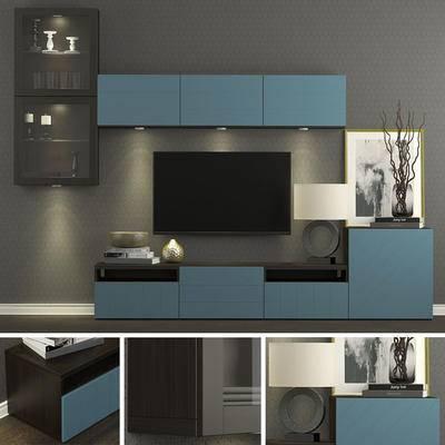 电视, 电视柜, 摆件, 挂画, 现代