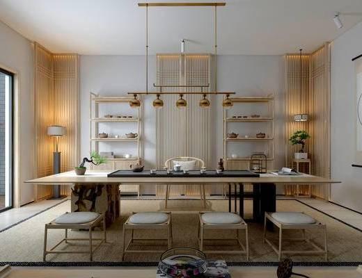 新中式茶室, 吊灯, 桌子, 椅子, 凳子, 壁画, 置物柜, 边几, 盆栽, 新中式